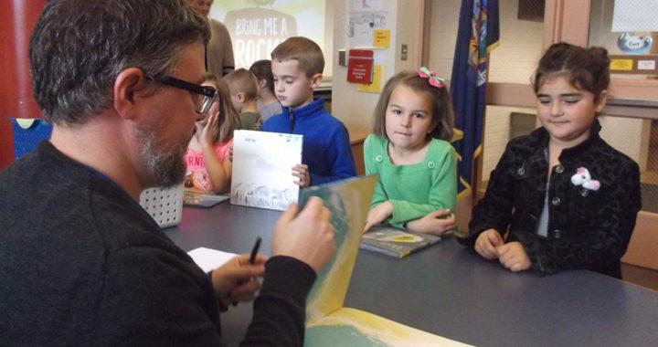 Author Dan Miyares visits with students