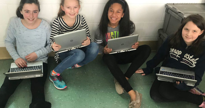 Students with laptops