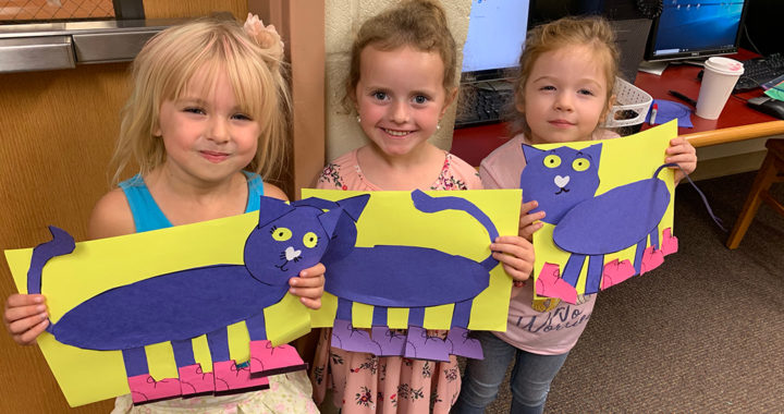 Kindergartners with Pete the Cat art
