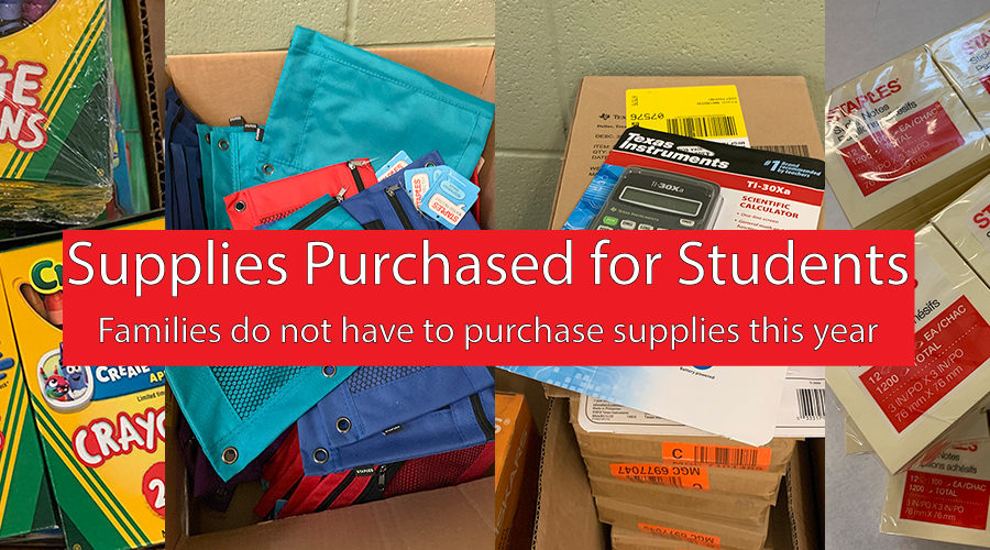 Supplies purchased for students